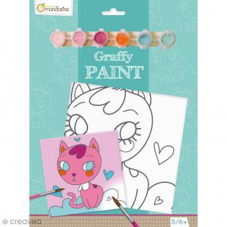 Kit peinture enfant Graffy Paint - Chat coeur - Toile de 20 x 20 cm et accessoires