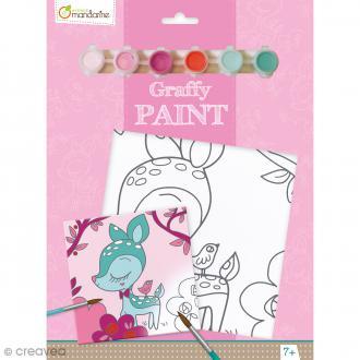 Kit peinture enfant Graffy Paint - Faon - Toile de 20 x 20 cm et accessoires