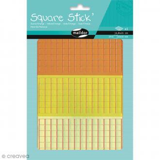 Kit gommettes Mosaïque - Square Stick Jaune & Orange - 252 carrés de 1 cm
