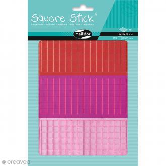 Kit gommettes Mosaïque - Square Stick Rouge & Rose - 252 carrés de 1 cm