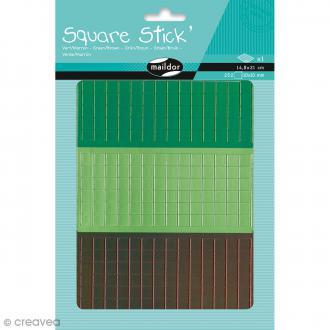 Kit gommettes Mosaïque - Square Stick Vert & Marron - 252 carrés de 1 cm