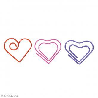 Trombone fantaisie 3 cm - Coeurs rouge rose violet - 14 pcs