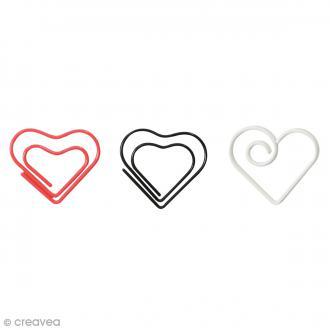 Trombone fantaisie 2 cm - Coeurs blanc noir rose - 14 pcs