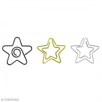 Trombone fantaisie 3 cm - Etoiles dorées & argentées - 14 pcs