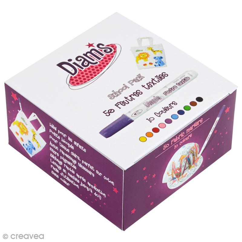 Assortiment de feutres textiles pour enfants - Boîte de 50 feutres - Photo n°1