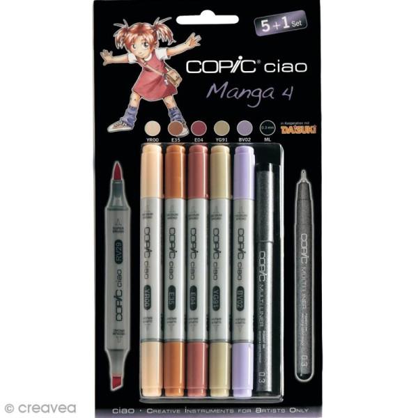 Copic Ciao Set Manga n°4 - 5 marqueurs et 1 feutre Multiliner - 6 pcs - Photo n°1