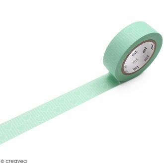 Masking Tape Lignes de coeurs vert - 15 mm x 10 m
