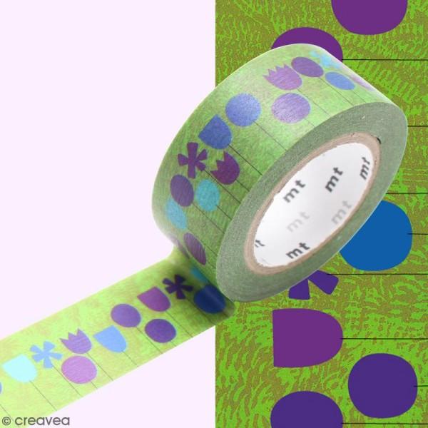 Masking Tape Fleurs fond vert - 20 mm x 10 m - Photo n°2