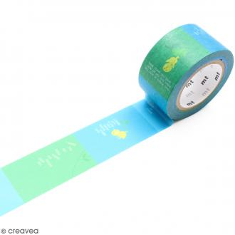 Masking Tape Oiseau fond bleu et vert - 25 mm x 10 m
