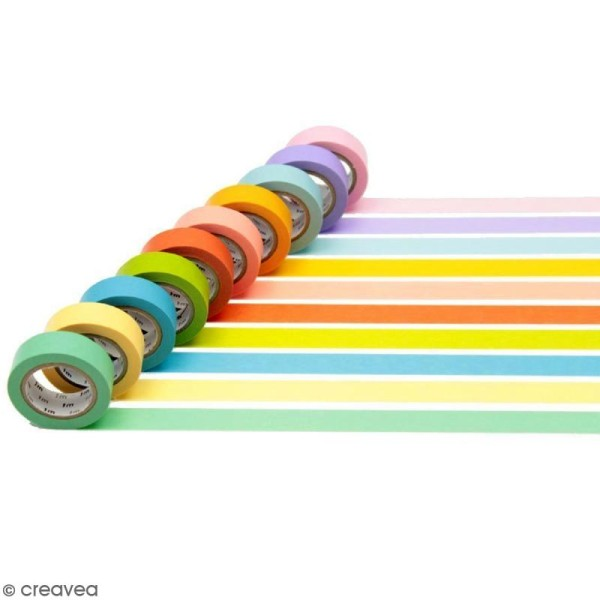 Assortiment Masking Tape Unis - 10 rouleaux de 15 mm x 10 mètres - Photo n°2