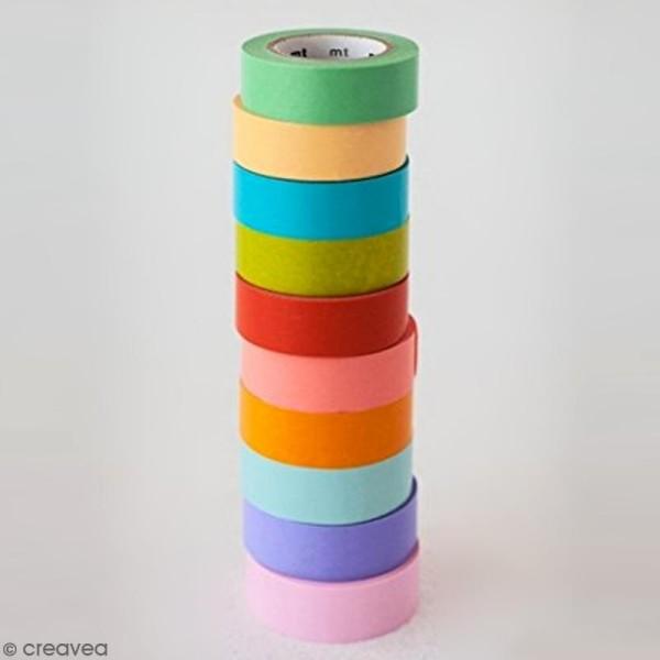 Assortiment Masking Tape Unis - 10 rouleaux de 15 mm x 10 mètres - Photo n°3