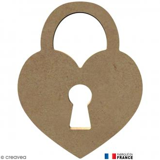 Cadenas coeur en Bois à décorer - 13,8 cm