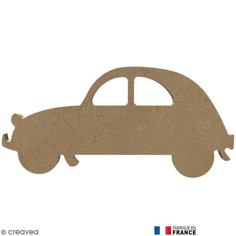 voiture 2cv en bois  u00e0 d u00e9corer - 18 2 cm - forme en bois