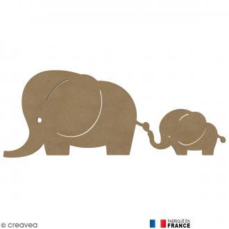 Famille éléphants en Bois à décorer - 58 cm