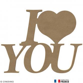 Mot I love you en Bois à décorer - 58 cm