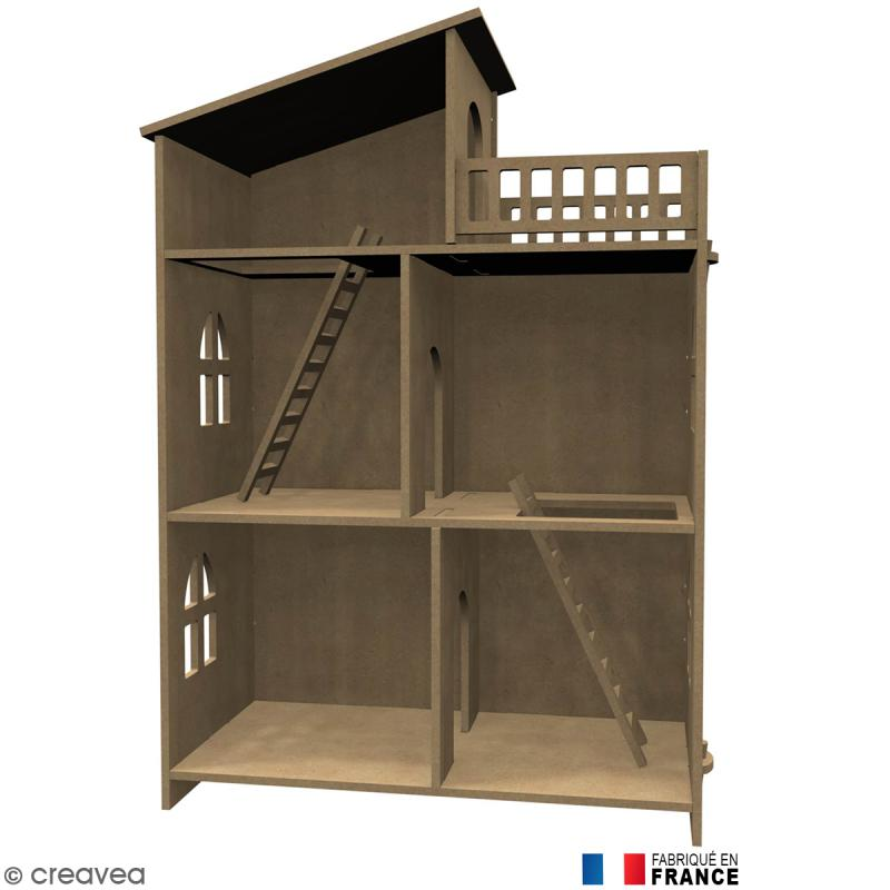 kit maison de poup e en bois d corer meuble miniature en bois creavea. Black Bedroom Furniture Sets. Home Design Ideas