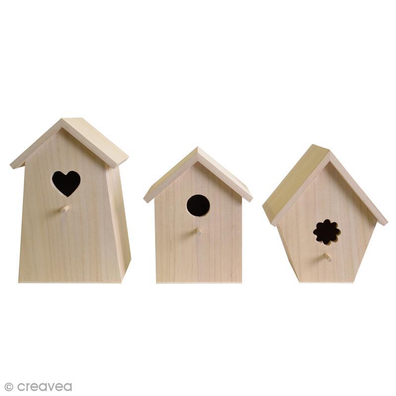 Set de 3 nichoirs en bois d corer de 20 25 cm nichoir d corer cre - Nichoir en bois a decorer ...