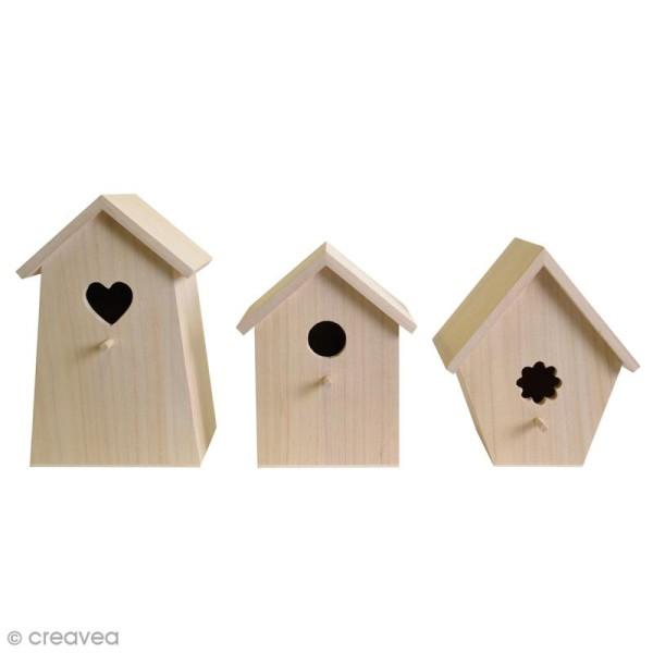 Set de 3 nichoirs en bois à décorer - De 20 à 25 cm - Photo n°1