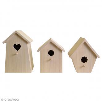 Set de 3 nichoirs en bois à décorer - De 20 à 25 cm