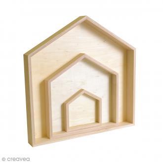 Etagères maison en bois à décorer - De 11 à 32 cm