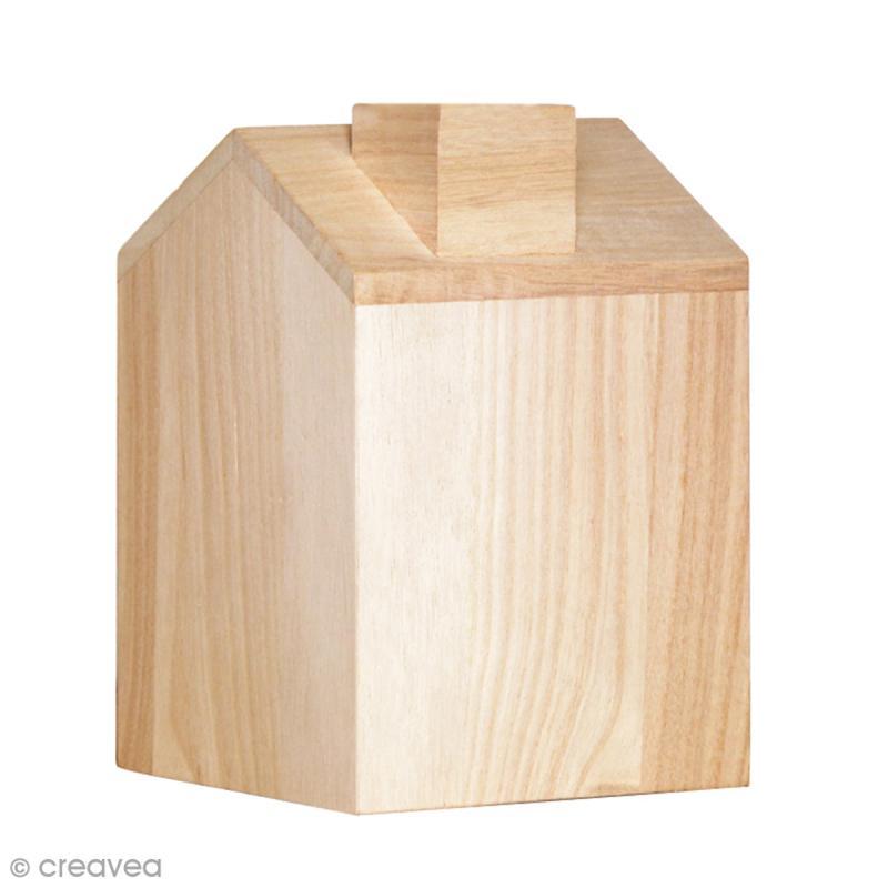 Bo te mouchoir maison en bois 12 5 x 13 x 18 cm boite mouchoir creavea - Boite a mouchoirs maison ...
