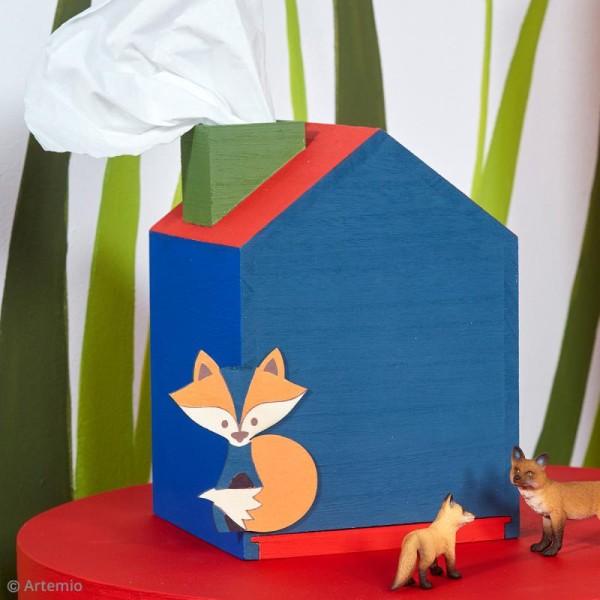 Boîte à mouchoir Maison en bois - 12, 5 x 13 x 18 cm - Photo n°3