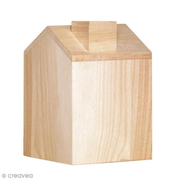 Boîte à mouchoir Maison en bois - 12, 5 x 13 x 18 cm - Photo n°1
