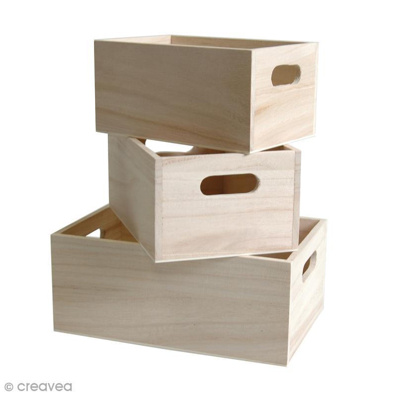 Casier à décorer en bois - 16 / 19 / 21,5 cm - 3 pcs - Photo n°1