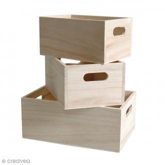 Casier à décorer en bois - 16 / 19 / 21,5 cm - 3 pcs