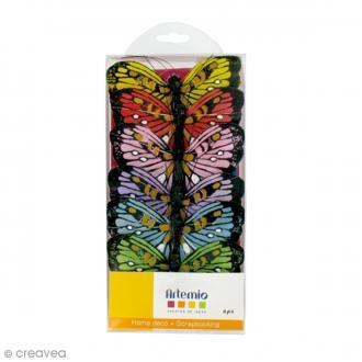 Papillons déco colorés - 7,5 x 5 cm - 6 pcs