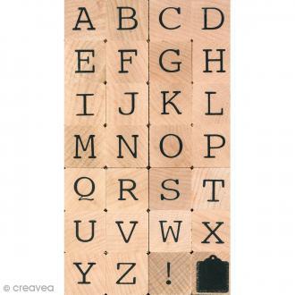 Set de tampons alphabet - Majuscules 1 cm - 28 pcs