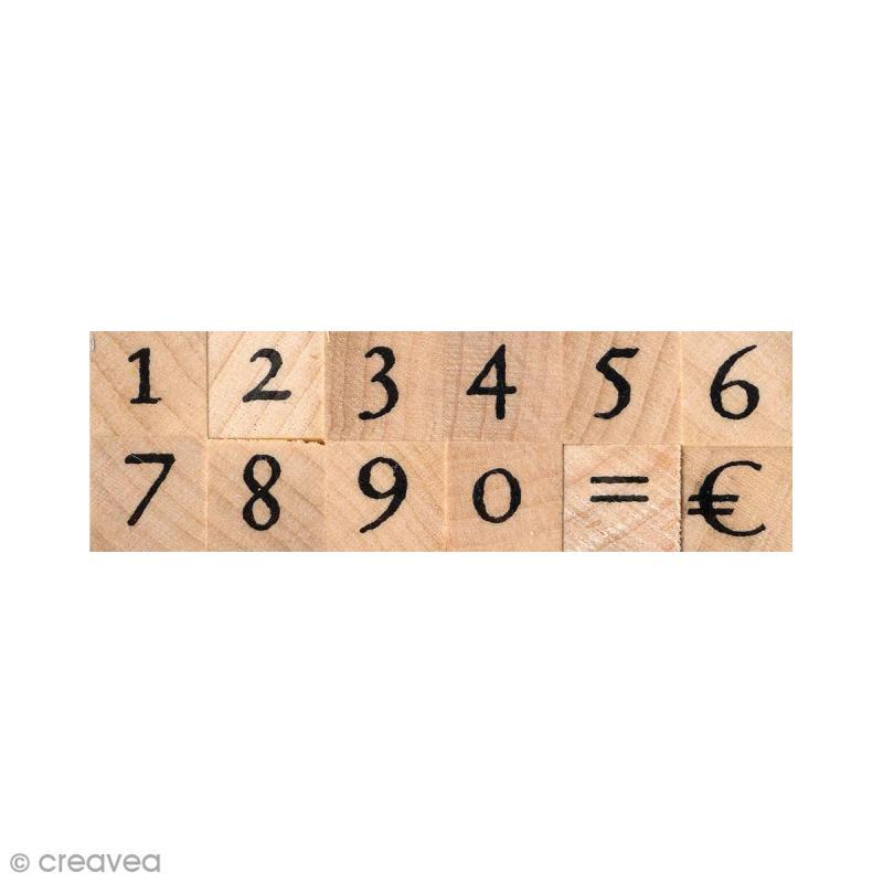 Set de tampons bois - Chiffres antiques 1 cm - 12 pcs - Photo n°1
