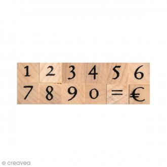 Set de tampons bois - Chiffres antiques 1 cm - 12 pcs