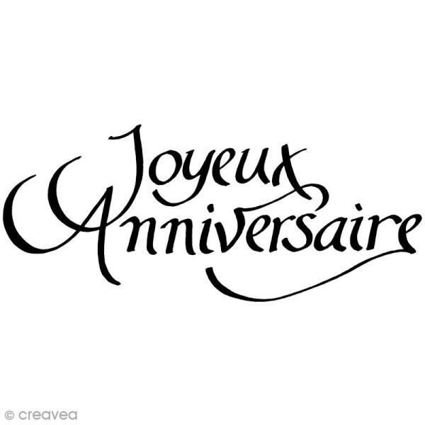Tampon bois Joyeux anniversaire - 7,3 x 3,6 cm - Photo n°1