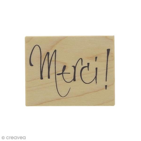 Tampon bois Merci - 5,5 x 4,3 cm - Photo n°1