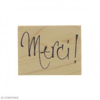 Tampon bois Merci - 5,5 x 4,3 cm