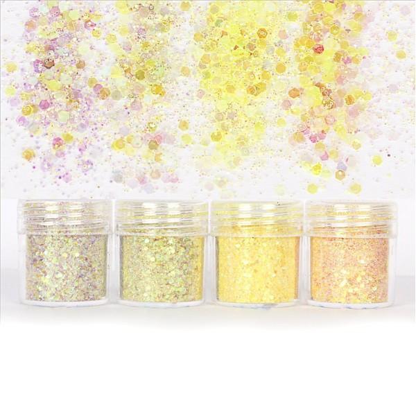 4pcs AB Iris Jaune, Mélanger Ensemble, Nail Art Glitter Powder Hexagone Kit de Cheveux, Manucure Maq - Photo n°1