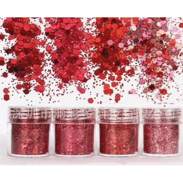 4pcs Rouge, Rose, Mélanger Ensemble, Nail Art Glitter Powder Hexagone Kit de Cheveux, Manucure Maqui - Photo n°2