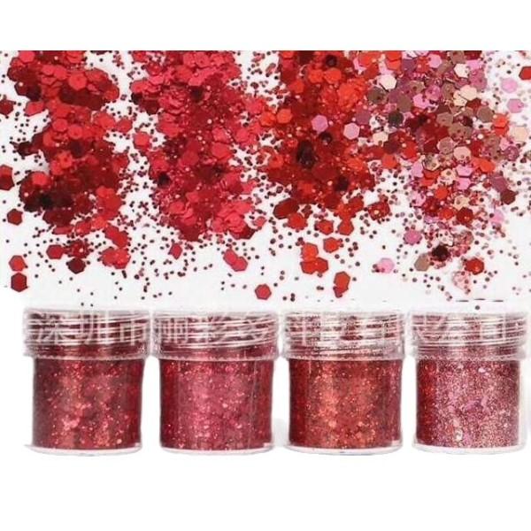 4pcs Rouge, Rose, Mélanger Ensemble, Nail Art Glitter Powder Hexagone Kit de Cheveux, Manucure Maqui - Photo n°1