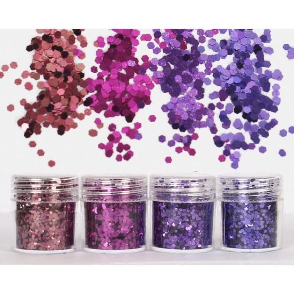 4pcs Pourpre, Violet, Mélanger Ensemble, Nail Art Glitter Powder Hexagone Kit de Cheveux, Manucure M - Photo n°2