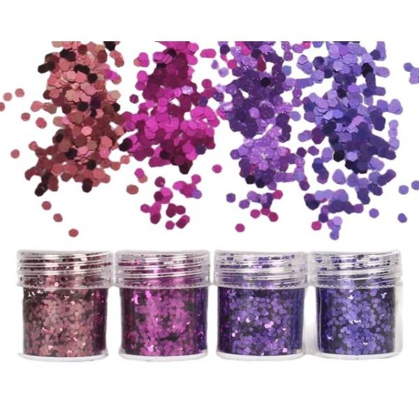 4pcs Pourpre, Violet, Mélanger Ensemble, Nail Art Glitter Powder Hexagone Kit de Cheveux, Manucure M - Photo n°1