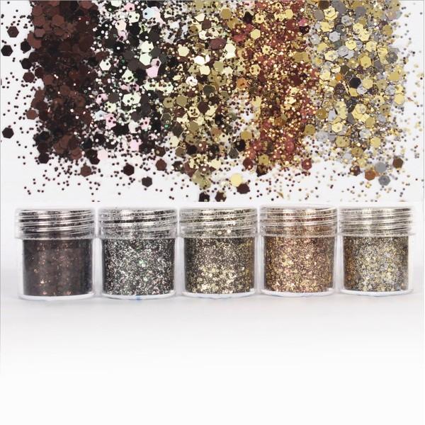 5pcs Or Argent Cuivre, Bronze Métallisé Couleurs, Mélanger Ensemble, Nail Art Glitter Powder Hexagon - Photo n°1