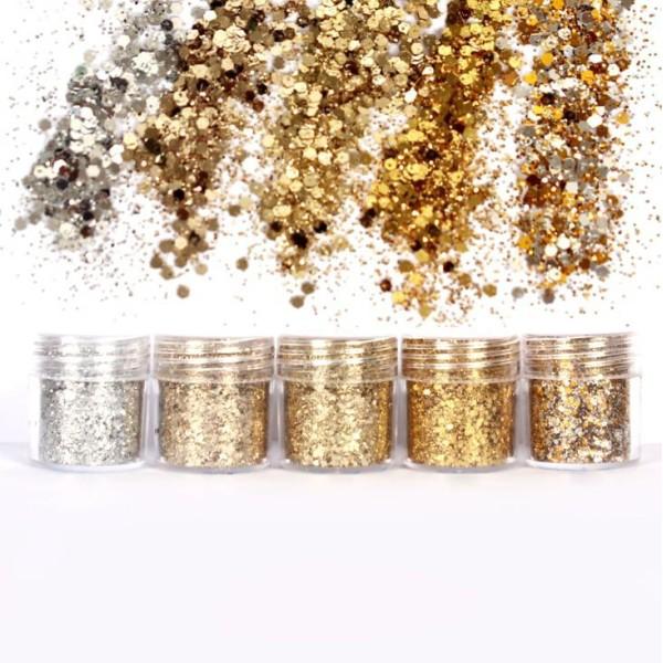 5pcs Argent de l'Or de Champagne, Mélanger Ensemble, Nail Art Glitter Powder Hexagone Kit de Cheveux - Photo n°1