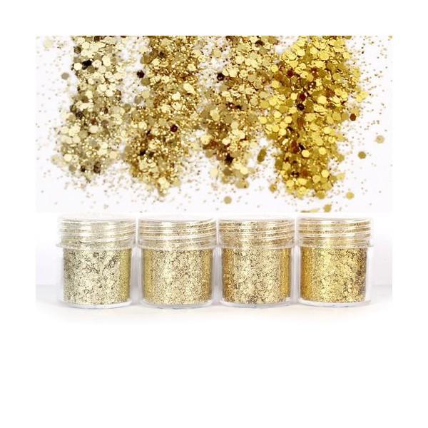 4pcs Or, Mélanger Ensemble, Nail Art Glitter Powder Hexagone Kit de Cheveux, Manucure Maquillage pou - Photo n°1