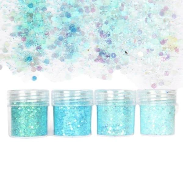 4pcs Gel Light Bleu Turquoise, Mélanger Ensemble, Nail Art Glitter Powder Hexagone Kit de Cheveux, M - Photo n°1