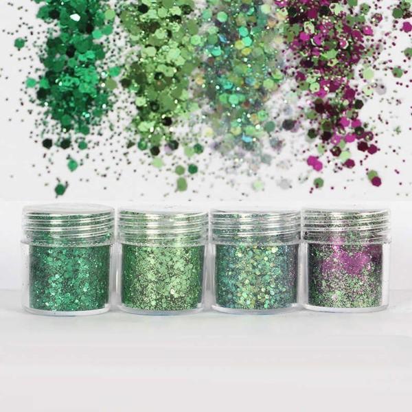 4pcs Pourpre Vert Mélanger, Mélanger Ensemble, Nail Art Glitter Powder Hexagone Kit de Cheveux, Manu - Photo n°2