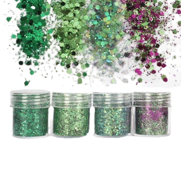 4pcs Pourpre Vert Mélanger, Mélanger Ensemble, Nail Art Glitter Powder Hexagone Kit de Cheveux, Manu - Photo n°1