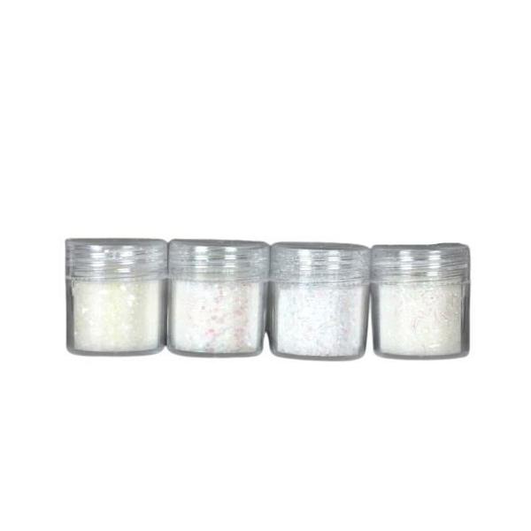 4pcs AB Blanc, Mélanger Ensemble, Nail Art Glitter Powder Hexagone Kit de Cheveux, Manucure Maquilla - Photo n°1