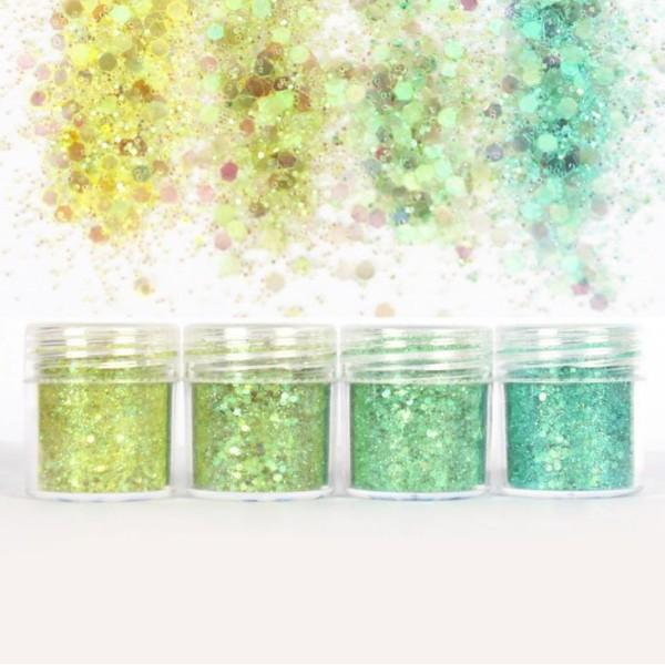 4pcs Vert Menthe, Mélanger Ensemble, Nail Art Glitter Powder Hexagone Kit de Cheveux, Manucure Maqui - Photo n°2