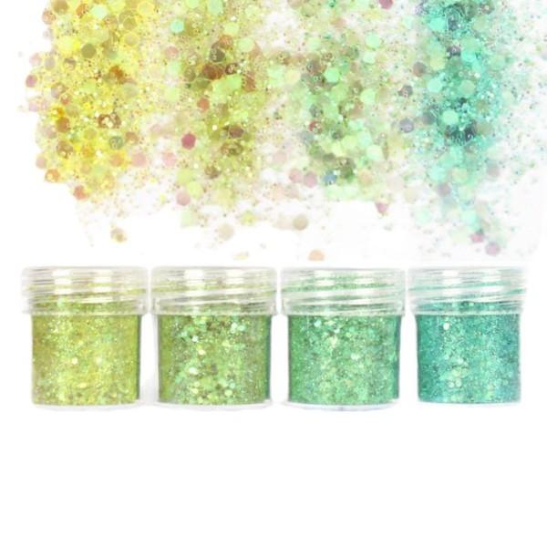 4pcs Vert Menthe, Mélanger Ensemble, Nail Art Glitter Powder Hexagone Kit de Cheveux, Manucure Maqui - Photo n°1